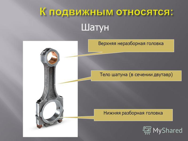 Шатун Верхняя неразборная головка Тело шатуна (в сечении двутавр) Нижняя разборная головка