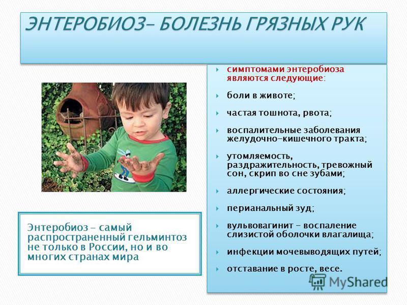 Энтеробиоз - самый распространенный гельминтоз не только в России, но и во многих странах мира симптомами энтеробиоза являются следующие: боли в животе; частая тошнота, рвота; воспалительные заболевания желудочно-кишечного тракта; утомляемость, раздр