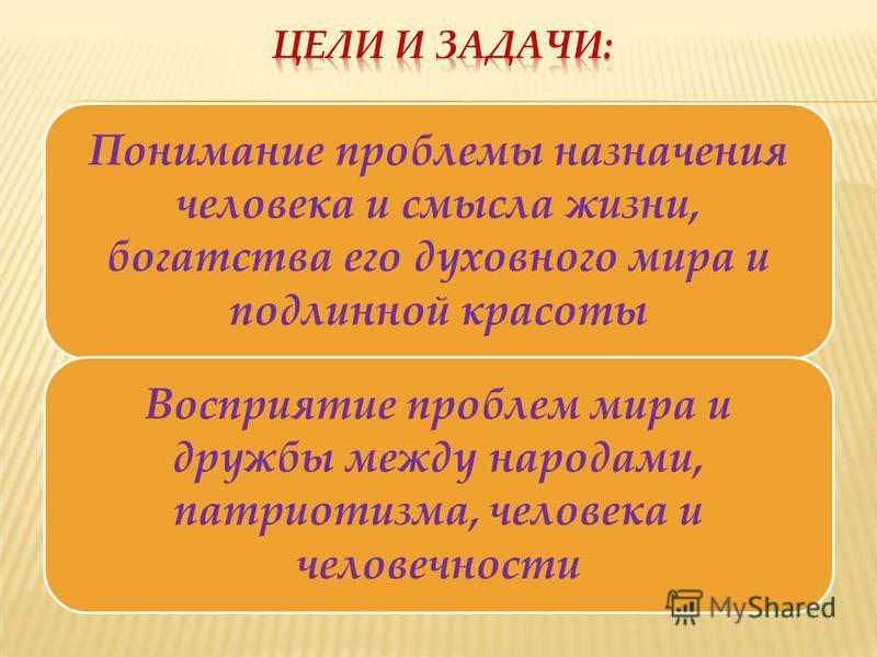 Понимание проблемы назначения человека и смысла жизни, богатства его духовного мира и подлинной красоты Восприятие проблем мира и дружбы между народами, патриотизма, человека и человечности