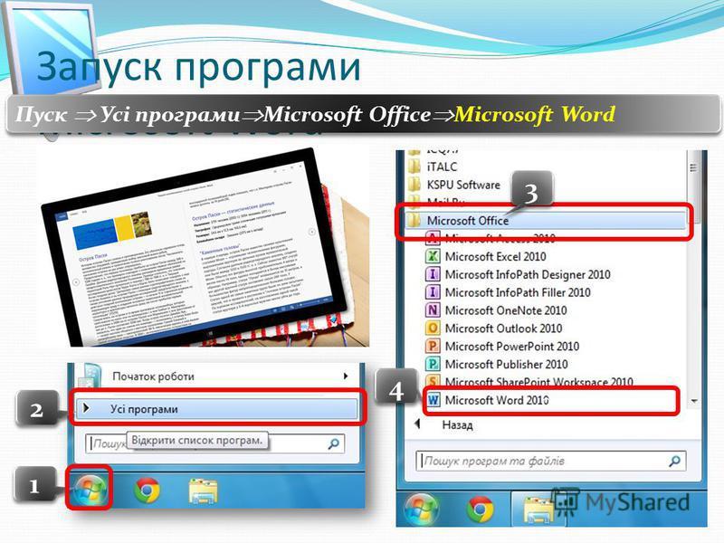 Запуск програми Microsoft Word Пуск Усі програми Microsoft Office Microsoft Word 1 1 2 2 4 4 00 3 3