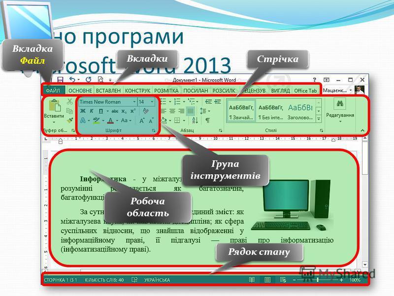 Вікно програми Microsoft Word 2013 Вкладка Файл Стрічка Вкладки Робоча область Рядок стану Група інструментів