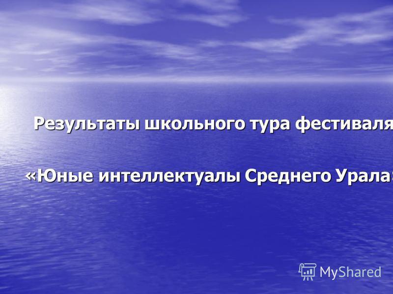 Результаты школьного тура фестиваля «Юные интеллектуалы Среднего Урала»