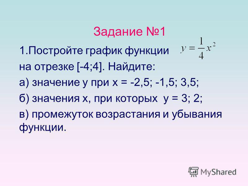 Задание 1 1. Постройте график функции на отрезке [-4;4]. Найдите: а) значение y при x = -2,5; -1,5; 3,5; б) значения x, при которых y = 3; 2; в) промежуток возрастания и убывания функции.