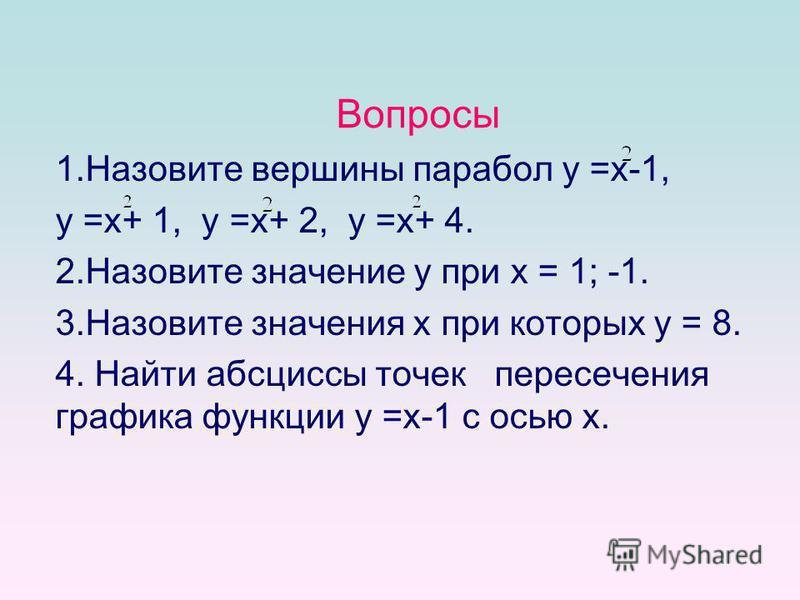 Вопросы 1. Назовите вершины парабол у =x-1, у =x+ 1, у =x+ 2, у =x+ 4. 2. Назовите значение y при x = 1; -1. 3. Назовите значения x при которых y = 8. 4. Найти абсциссы точек пересечения графика функции у =x-1 с осью x.