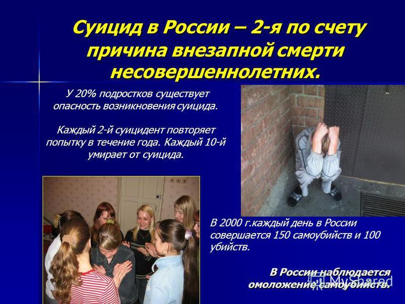 Суицид в России – 2-я по счету причина внезапной смерти несовершеннолетних. Суицид в России – 2-я по счету причина внезапной смерти несовершеннолетних. У 20% подростков существует опасность возникновения суицида. Каждый 2-й суицидент повторяет попытк