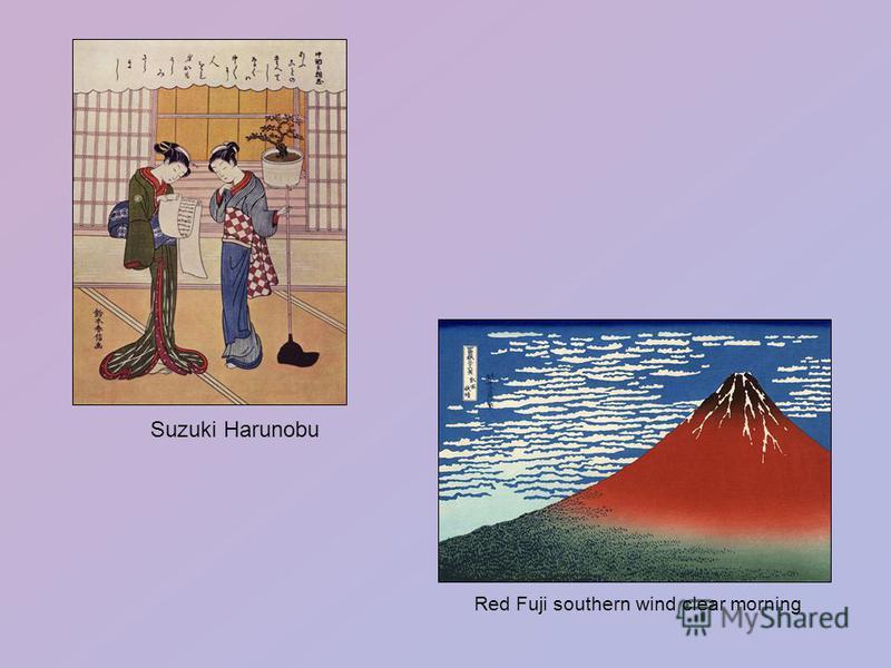 Suzuki Harunobu Red Fuji southern wind clear morning
