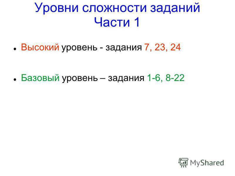 Уровни сложности заданий Части 1 Высокий уровень - задания 7, 23, 24 Базовый уровень – задания 1-6, 8-22