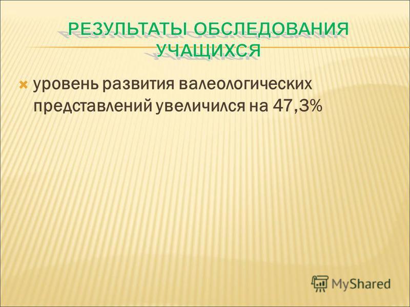 уровень развития валеологических представлений увеличился на 47,3%