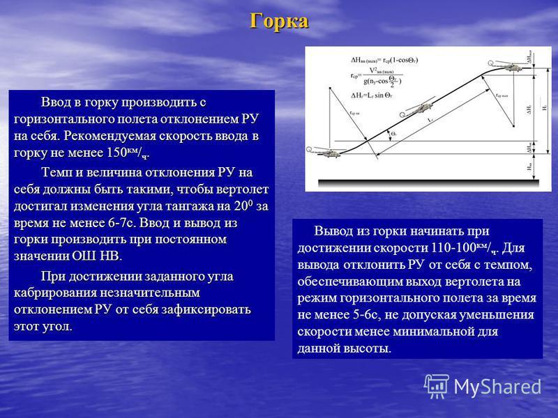 Горка Ввод в горку производить с горизонтального полета отклонением РУ на себя. Рекомендуемая скорость ввода в горку не менее 150 км / ч. Темп и величина отклонения РУ на себя должны быть такими, чтобы вертолет достигал изменения угла тангажа на 20 0