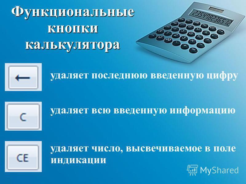 Функциональные кнопки калькулятора удаляет последнюю введенную цифру удаляет всю введенную информацию удаляет число, высвечиваемое в поле индикации