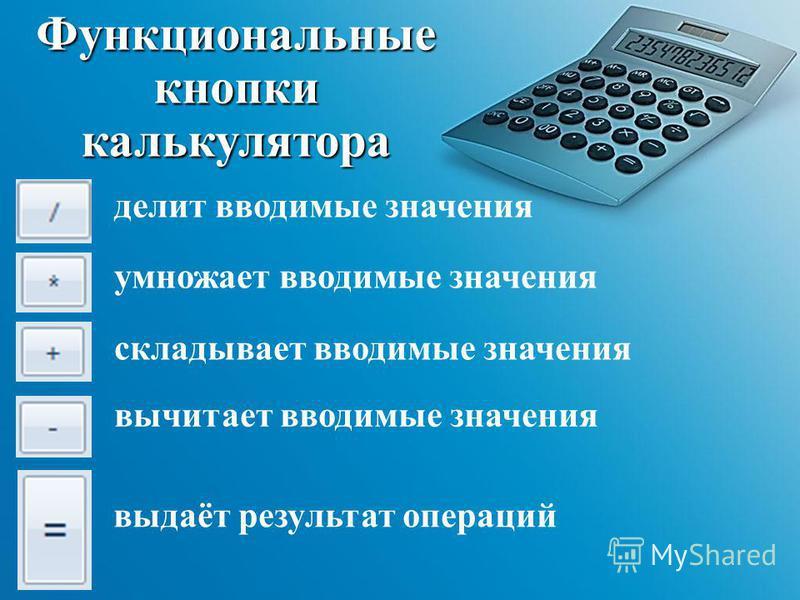делит вводимые значения Функциональные кнопки калькулятора умножает вводимые значения складывает вводимые значения вычитает вводимые значения выдаёт результат операций