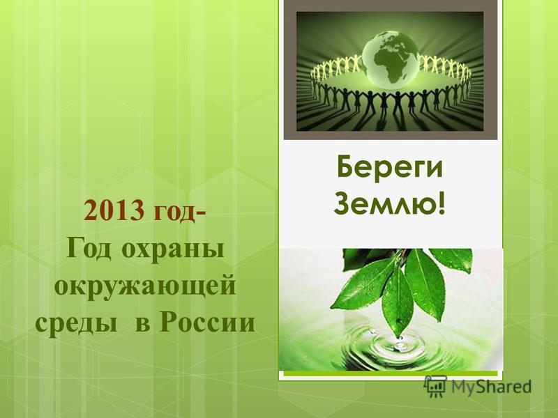 Береги Землю! 2013 год- Год охраны окружающей среды в России
