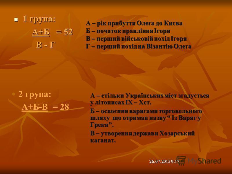 1 група: 1 група: А+Б = 52 А+Б = 52 В - Г А – стільки Українських міст згадується у літописах IX – Xст. Б – освоєння варягами торговельного шляху що отримав назву Із Варяг у Греки. В – утворення держави Хозарський каганат. А – рік прибуття Олега до К