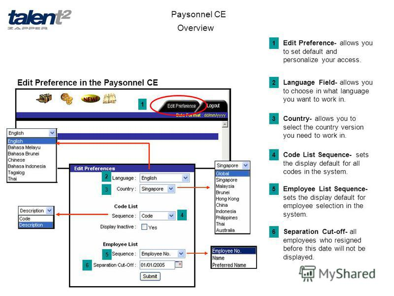 Overview Paysonnel CE Edit Preference in the Paysonnel CE 1 2 3 4 5 6 Edit Preference- allows you to set default and personalize your access. 1 Language Field- allows you to choose in what language you want to work in. 2 Country- allows you to select
