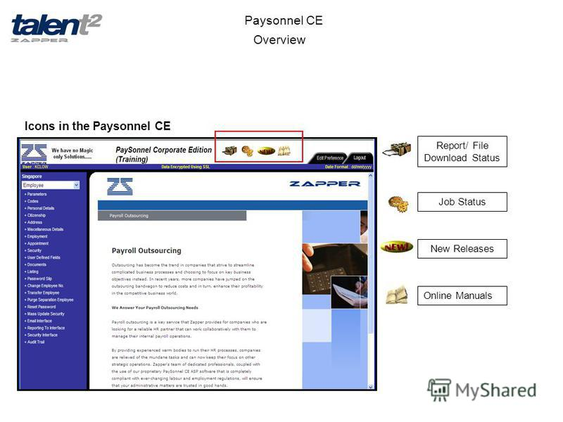 Overview Paysonnel CE New Releases Online Manuals Job Status Report/ File Download Status Icons in the Paysonnel CE