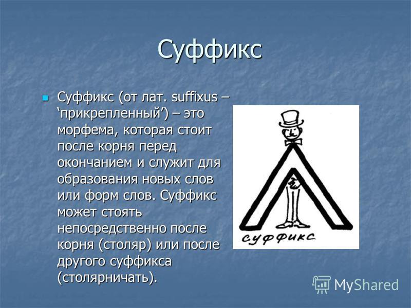 Суффикс Суффикс Суффикс (от лат. suffixus – прикрепленный) – это морфема, которая стоит после корня перед окончанием и служит для образования новых слов или форм слов. Суффикс может стоять непосредственно после корня (столяр) или после другого суффик
