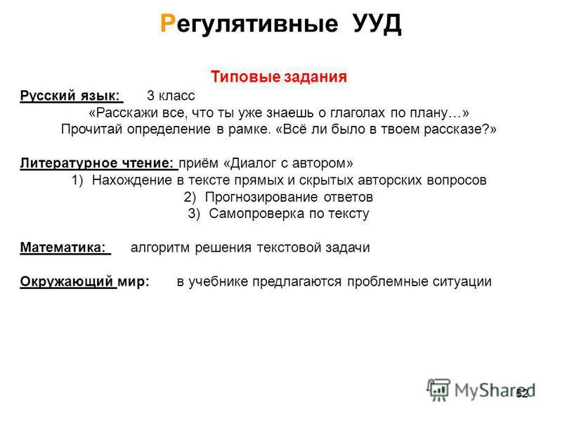 Типовые задания Русский язык: 3 класс «Расскажи все, что ты уже знаешь о глаголах по плану…» Прочитай определение в рамке. «Всё ли было в твоем рассказе?» Литературное чтение: приём «Диалог с автором» 1)Нахождение в тексте прямых и скрытых авторских