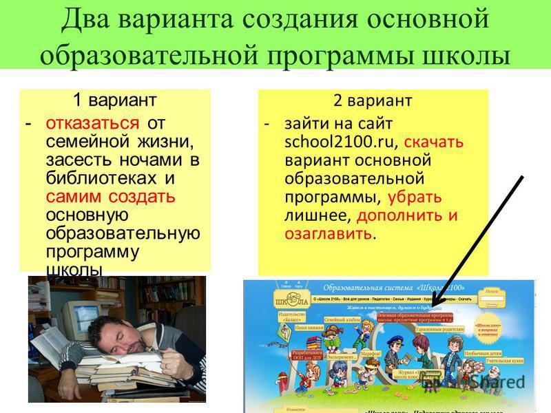 Два варианта создания основной образовательной программы школы 1 вариант - отказаться от семейной жизни, засесть ночами в библиотеках и самим создать основную образовательную программу школы 2 вариант - зайти на сайт school2100.ru, скачать вариант ос