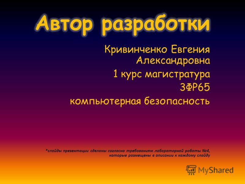 Кривинченко Евгения Александровна 1 курс магистратура 3ФР65 компьютерная безопасность *слайды презентации сделаны согласно требованиям лабораторной работы 4, которые размещены в описании к каждому слайду