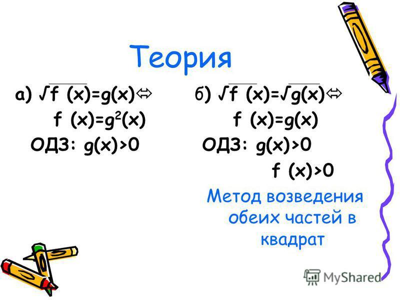 Теория а) f (x)=g(x) f (x)=g 2 (x) ОДЗ: g(x)>0 б) f (x)=g(x) f (x)=g(x) ОДЗ: g(x)>0 f (x)>0 Метод возведения обеих частей в квадрат