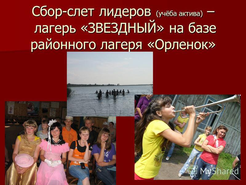 Сбор-слет лидеров (учёба актива) – лагерь «ЗВЕЗДНЫЙ» на базе районного лагеря «Орленок»