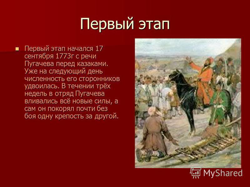 Первый этап Первый этап начался 17 сентября 1773 г с речи Пугачева перед казаками. Уже на следующий день численность его сторонников удвоилась. В течении трёх недель в отряд Пугачева вливались всё новые силы, а сам он покорял почти без боя одну крепо
