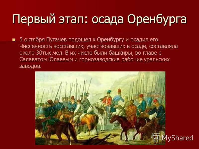Первый этап: осада Оренбурга 5 октября Пугачев подошел к Оренбургу и осадил его. Численность восставших, участвовавших в осаде, составляла около 30 тыс.чел. В их числе были башкиры, во главе с Салаватом Юлаевым и горнозаводские рабочие уральских заво