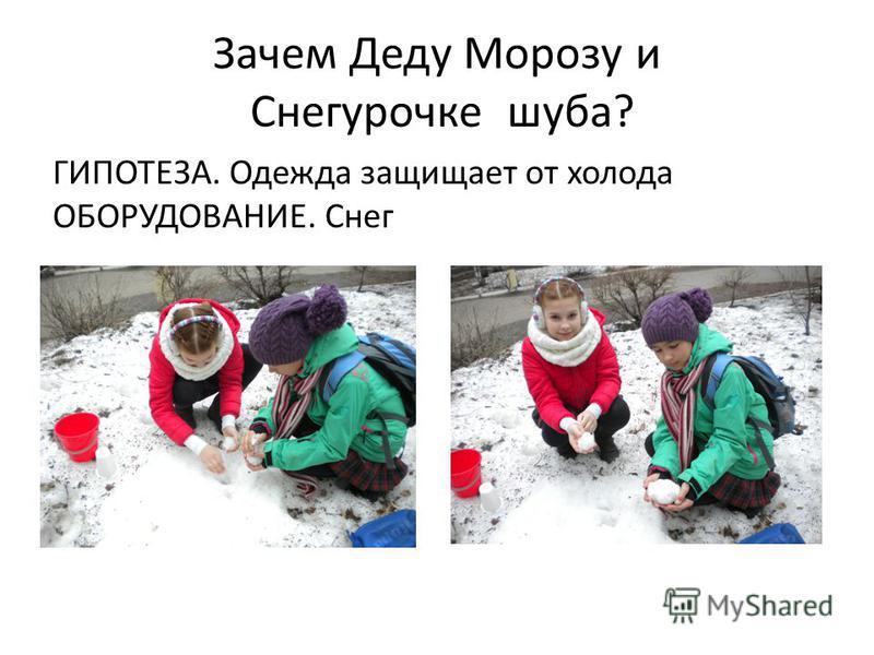Зачем Деду Морозу и Снегурочке шуба? ГИПОТЕЗА. Одежда защищает от холода ОБОРУДОВАНИЕ. Снег