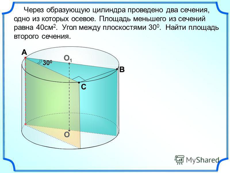 O O1O1O1O1А В С Через образующую цилиндра проведено два сечения, одно из которых осевое. Площадь меньшего из сечений равна 40 см 2. Угол между плоскостями 30 0. Найти площадь второго сечения. 30 0