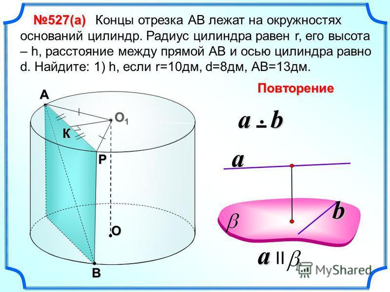Концы отрезка АВ лежат на окружностях оснований цилиндр. Радиус цилиндра равен r, его высота – h, расстояние между прямой АВ и осью цилиндра равно d. Найдите: 1) h, если r=10 дм, d=8 дм, АВ=13 дм. O O1O1O1O1В А Р К 527(а) a a II a b a b Повторение