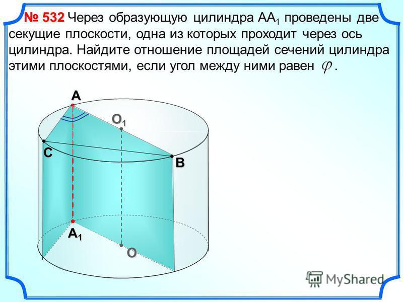 O O1O1O1O1 ВС А А1А1А1А1 Через образующую цилиндра АА 1 проведены две секущие плоскости, одна из которых проходит через ось цилиндра. Найдите отношение площадей сечений цилиндра этими плоскостями, если угол между ними равен. 532 532