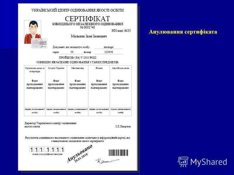 Анулювання сертифіката 2 0. 0 1. 2 0 1 0 А н у л ь о в а н о 1 1 1 1 1 1 1