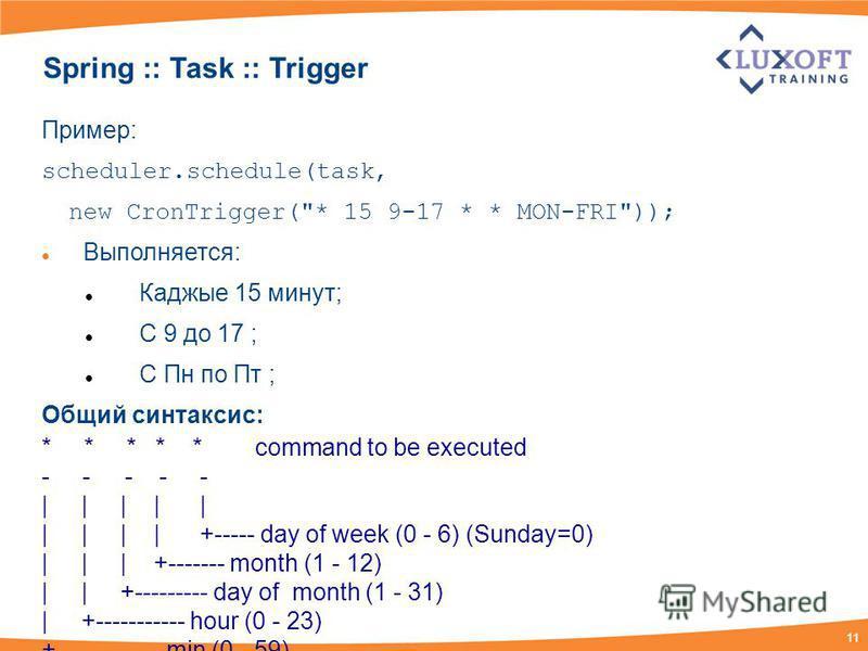 11 Spring :: Task :: Trigger Пример: scheduler.schedule(task, new CronTrigger(