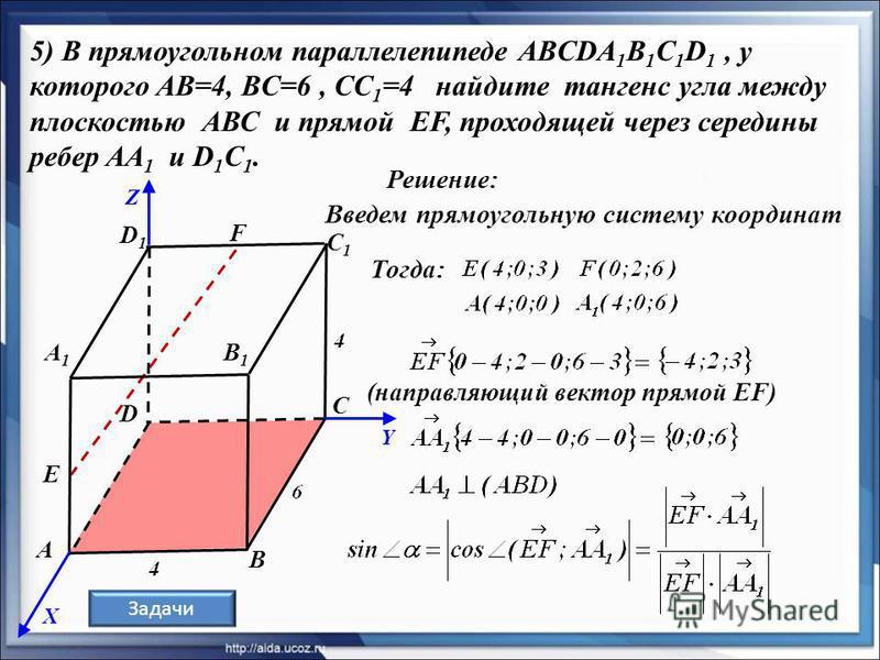 Решение: Задачи B A C1C1 D1D1 B1B1 A1A1 C 5) В прямоугольном параллелепипеде ABCDA 1 В 1 С 1 D 1, у которого AB=4, BC=6, CC 1 =4 найдите тангенс угла между плоскостью АВС и прямой EF, проходящей через середины ребер AA 1 и D 1 C 1. D Е F X Y Z Введем
