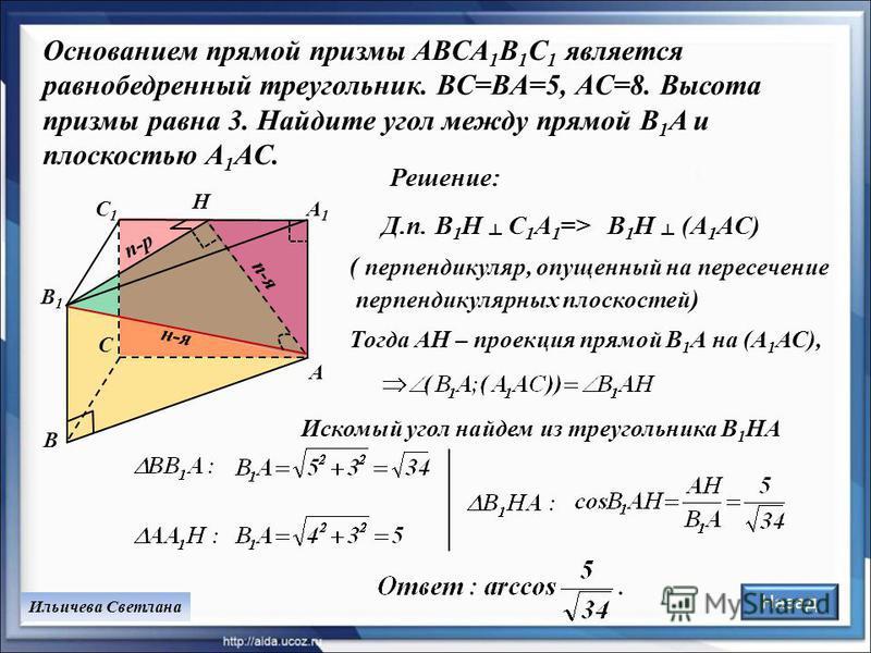 Основанием прямой призмы ABCA 1 B 1 C 1 является равнобедренный треугольник. BC=BA=5, AC=8. Высота призмы равна 3. Найдите угол между прямой B 1 A и плоскостью A 1 AC. Д.п. B 1 H C 1 A 1 => Ильичева Светлана B1B1 C C1C1 A1A1 A B H Решение: п-рп-р п-я