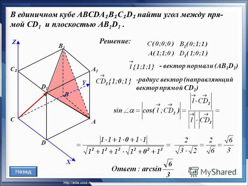 В единичном кубе ABCDA B C D найти угол между пря- мой CD 1 и плоскостью AB 1 D 1. Решение: С В D D1D1 В1В1 С А1А1 А Назад X Y Z - вектор нормали (AB 1 D 1 ) -радиус вектор (направляющий вектор прямой СD 1 )