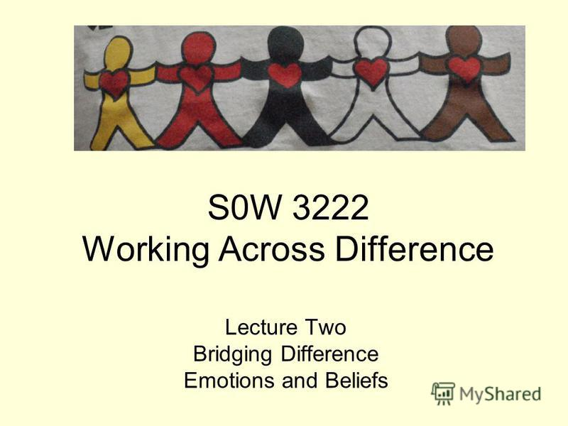 S0W 3222 Working Across Difference Lecture Two Bridging Difference Emotions and Beliefs