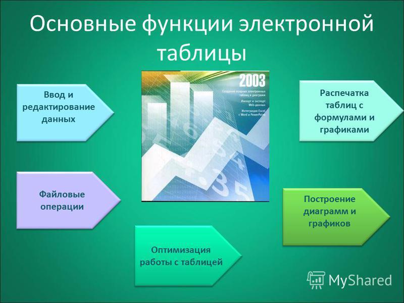 Основные функции электронной таблицы Ввод и редактирование данных Файловые операции Оптимизация работы с таблицей Построение диаграмм и графиков Распечатка таблиц с формулами и графиками