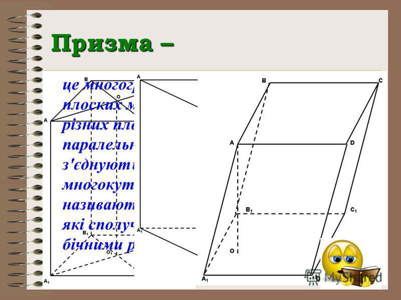 Призма – це многогранник, який складається з двох плоских многокутників, що лежать в різних площинах і суміщаються паралельним перенесенням, і відрізків, які з'єднують відповідні точки цих многокутників. Многокутники називаються основами призми, а ві