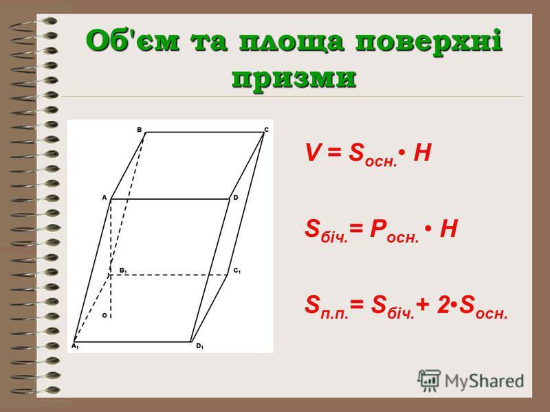 Об'єм та площа поверхні призми V = S осн. H S біч. = P осн. H S п.п. = S біч. + 2S осн.