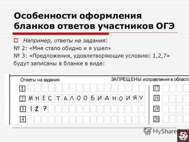 Например, ответы на задания: 2: «Мне стало обидно и я ушел» 3: «Предложения, удовлетворяющие условию: 1,2,7» будут записаны в бланке в виде: Особенности оформления бланков ответов участников ОГЭ