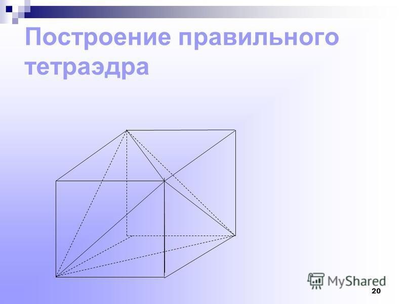 19 С1 В1 А Построение правильного тетраэдра вписанного в куб Рассмотрим вершину куба А. В ней сходятся три грани куба, имеющие форму квадратов. В каждом из этих квадратов берем вершину противоположную А,- вершины куба В1, С1, Д. Точки А, В1,С1, Д- яв