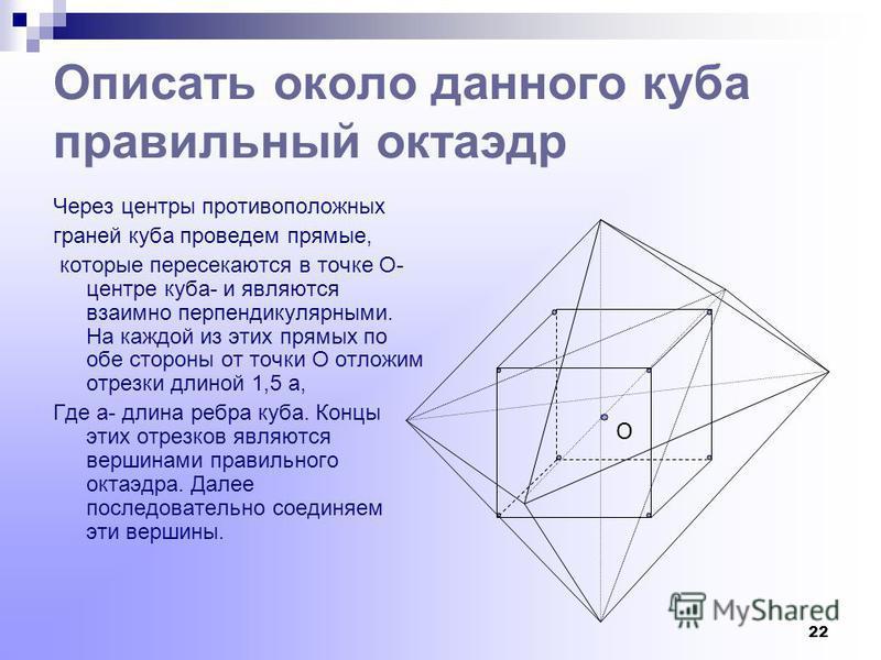 21 Построение икосаэдра, вписанного в куб Поместим на средних линиях граней куба по одному отрезку одинаковой длины с концами на равных расстояниях от ребер. Расположим отрезки и выберем их длину так, чтобы соединяя концы отрезка одной грани с концом