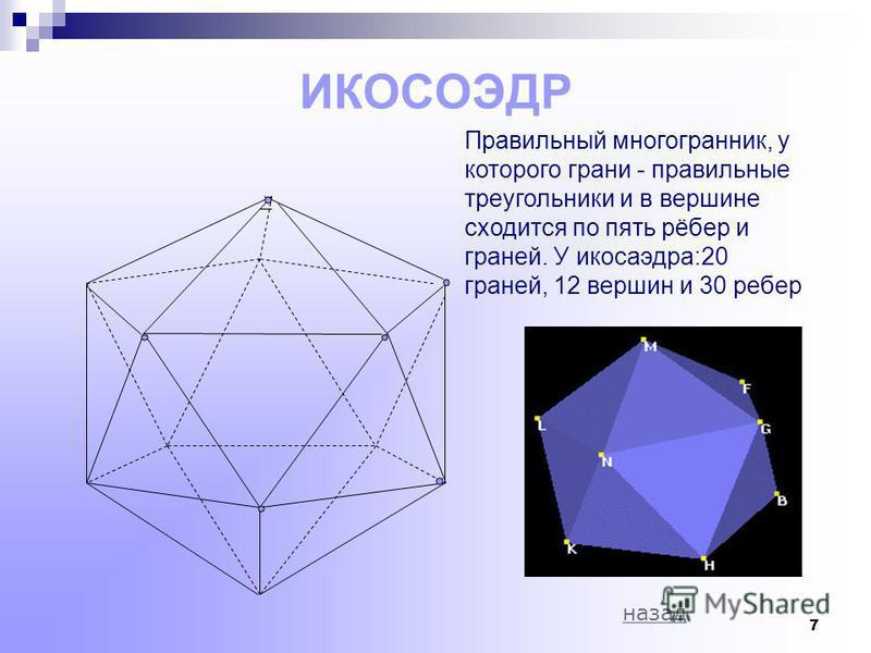6 ОКТАЭДР Правильный многогранник, у которого грани- правильные треугольники и в каждой вершине сходится по четыре ребра и по четыре грани. У октаэдра: 8 граней, 6 вершин и 12 ребер назад