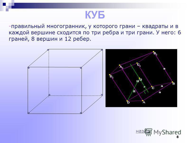 7 ИКОСОЭДР Правильный многогранник, у которого грани - правильные треугольники и в вершине сходится по пять рёбер и граней. У икосаэдра:20 граней, 12 вершин и 30 ребер назад