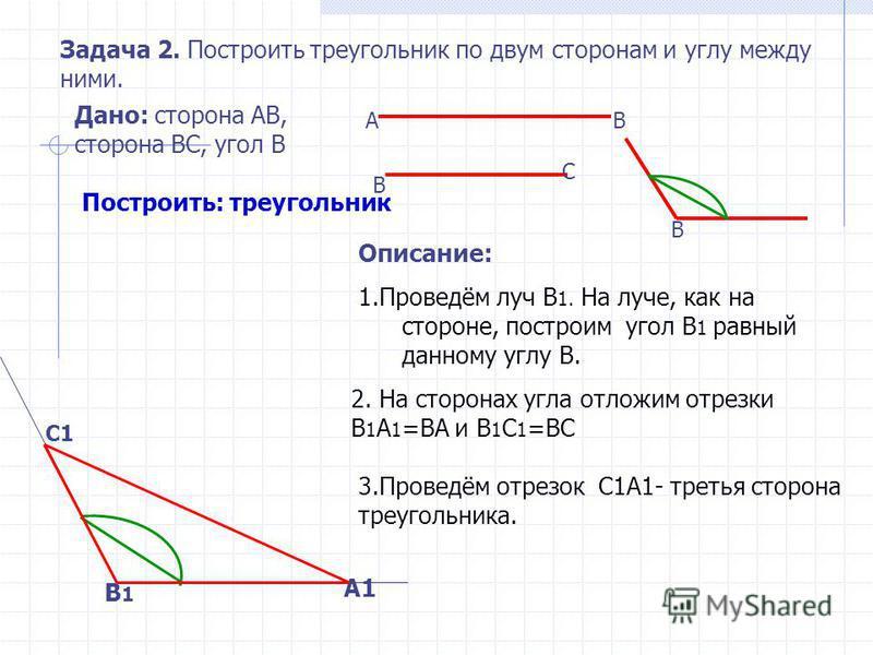 Задача. Построить треугольник КМN, если сторона КМ= 5 см, угол К=40 градусов, угол М= 55 градусам. 1. Дано: … Построить: … 2. Начертить данные элементы,с помощью линейки и транспортира. 3. Выполнить построение с помощью циркуля и линейки. 4. Выполнит