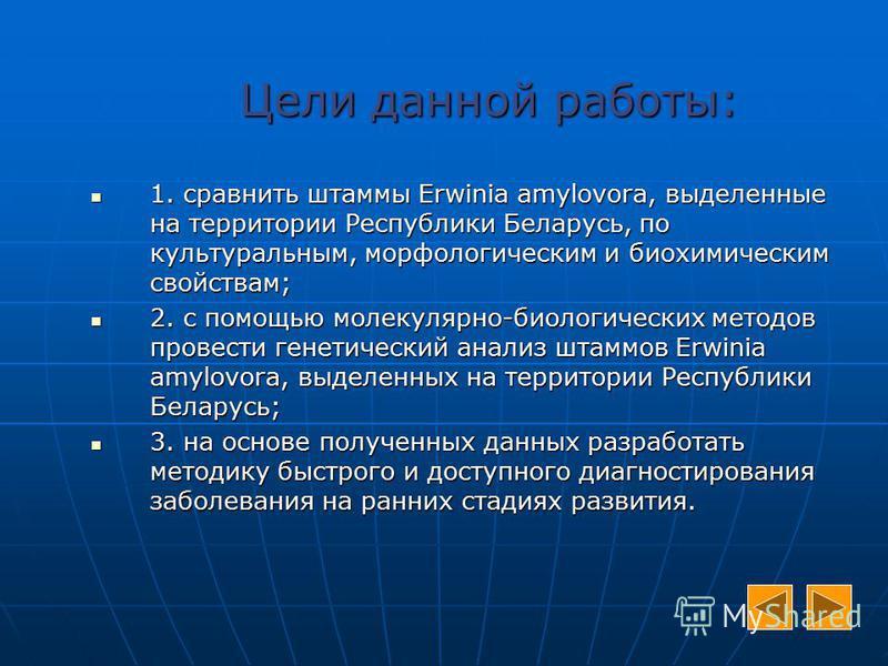 Цели данной работы: 1. 1. сравнить штаммы Erwinia amylovora, amylovora, выделенные на территории Республики Беларусь, по культуральным, морфологическим и биохимическим свойствам; 2. 2. с помощью молекулярно-биологических методов провести генетический