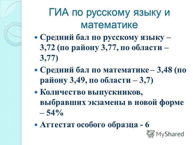 ГИА по русскому языку и математике Средний бал по русскому языку – 3,72 (по району 3,77, по области – 3,77) Средний бал по математике – 3,48 (по району 3,49, по области – 3,7) Количество выпускников, выбравших экзамены в новой форме – 54% Аттестат ос