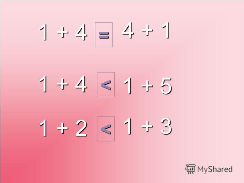 1 + 4 4 + 1 1 + 4 1 + 5 1 + 3 1 + 2 = < <