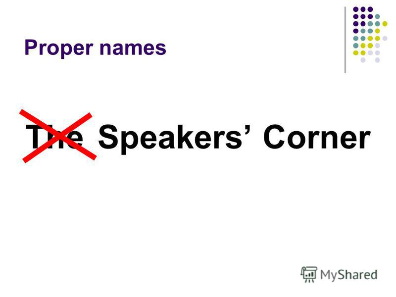 Proper names Speakers CornerThe